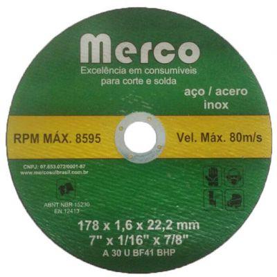 Disco Corte Aço/inox 180x1,6x22 Merco/nobre