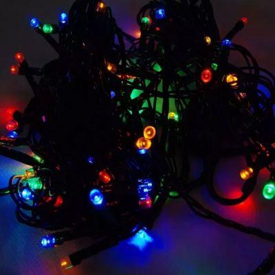 Conjunto de Luzes c/ 100 Leds Coloridos 8 Funcoes Fio Verde 220v
